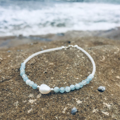pearl and aquamarine healing anklet for ladies