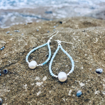 pearl and larimar ladies earrings