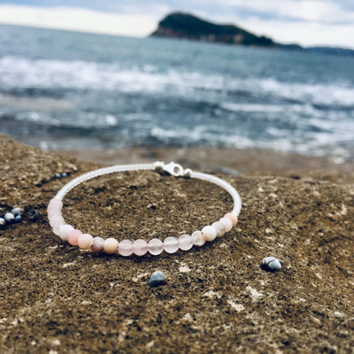 pink opal and rose quartz healing womens anklet