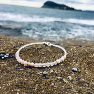 pink opal and rose quartz healing anklet