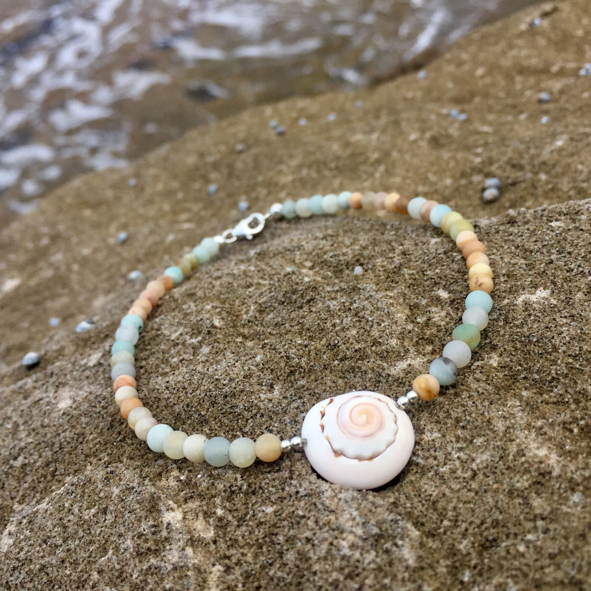 shell, amazonite and sunstone anklet
