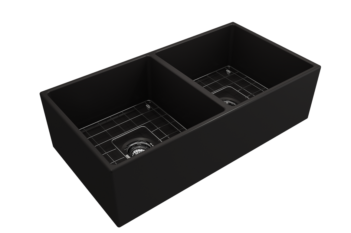 "BOCCHI 36"" Apron Fireclay Double Bowl, Step Rim, Matte Black, 1350-004-0120 - Farmhouse Kitchen and Bath"