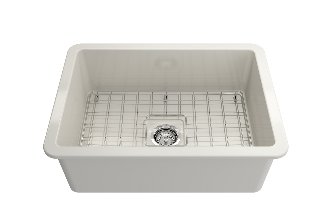 "BOCCHI 27"" Undermount Fireclay, Single Bowl Kitchen Sink, Biscuit, 1360-014-0120"