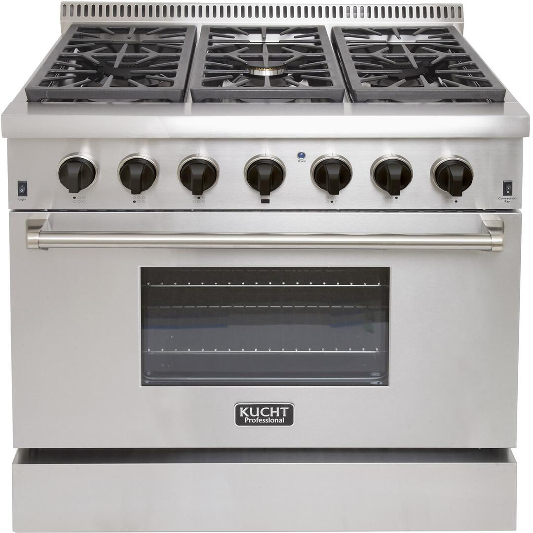 "Kucht 36"" Pro Stainless Duel-Fuel Range, 6.7 cu ft, Stainless Steel, BLACK Knobs KRD366F-K"