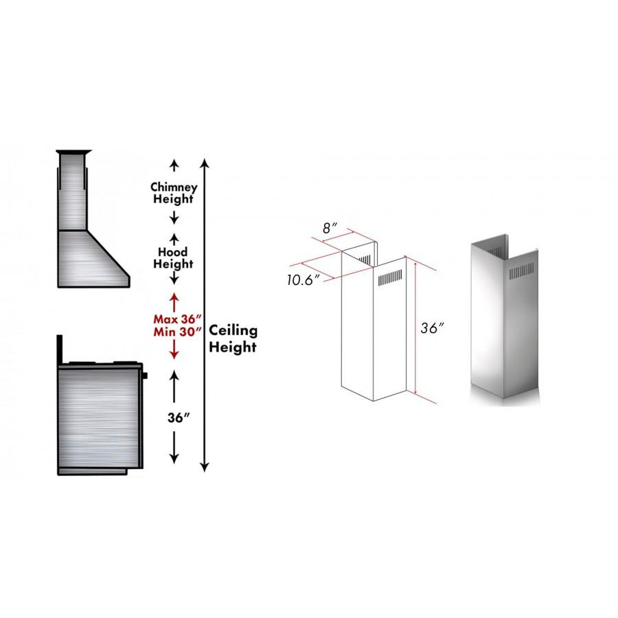 ZLINE 1 Piece Chimney Extension for 10' Ceiling,1PCEXT-KF1 - Farmhouse Kitchen and Bath