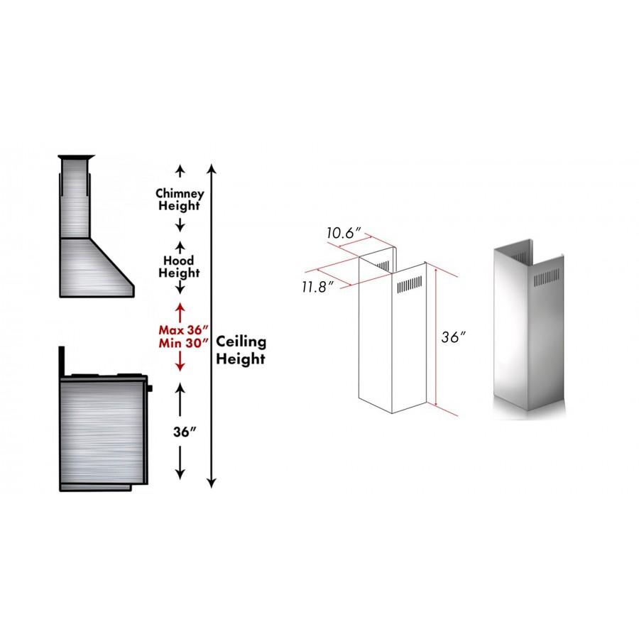ZLINE 1 Piece Chimney Extension for 10' Ceilings,1PCEXT-587/597 - Farmhouse Kitchen and Bath