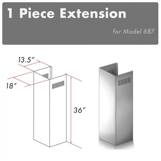 ZLINE 1 Piece Chimney Extension for 10' Ceiling, 1PCEXT-687 - Farmhouse Kitchen and Bath