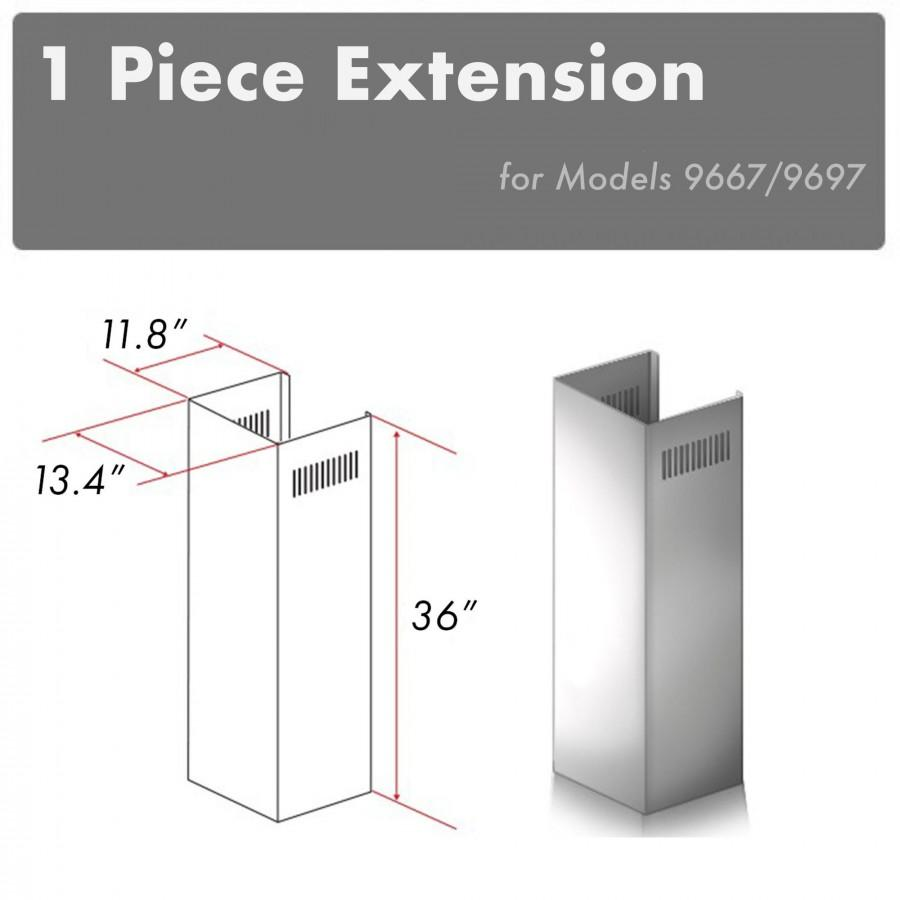 ZLINE 1 Piece Chimney Extension for 10' Ceilings,1PCEXT-9667/9697 - Farmhouse Kitchen and Bath