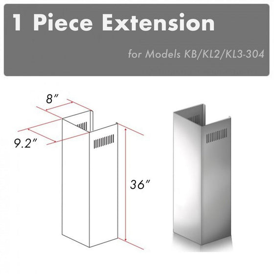 ZLINE 1 Piece Chimney Extension for 10ft Ceiling, 1PCEXT-KB/KL2/KL3-304 - Farmhouse Kitchen and Bath