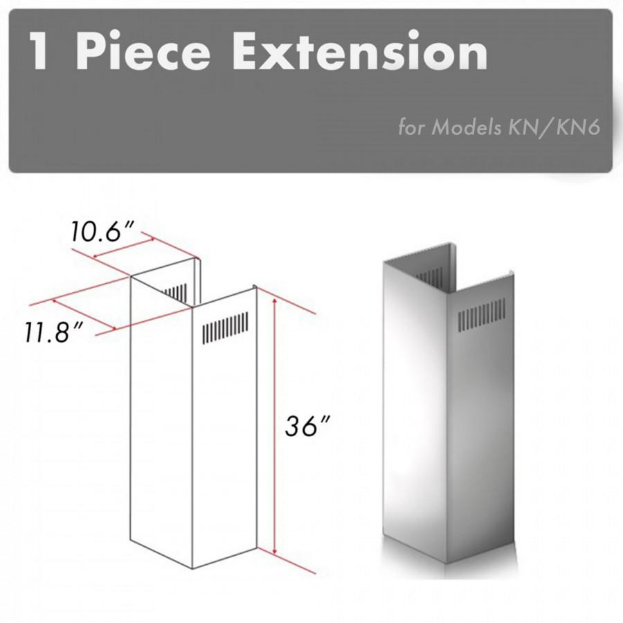 ZLINE 1 Piece Chimney Extension for 10'  Ceilings,1PCEXT-KN - Farmhouse Kitchen and Bath