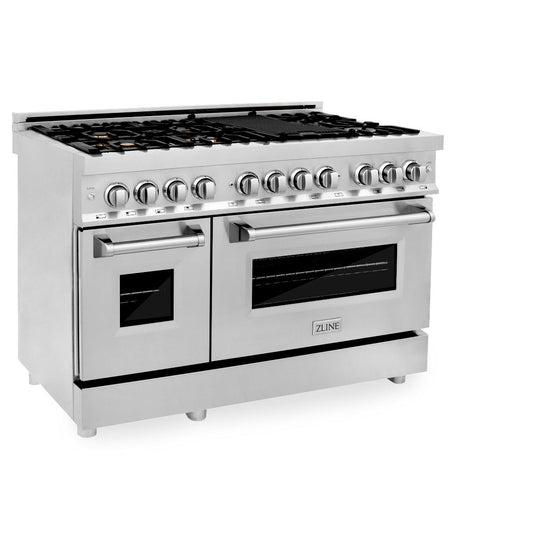 "ZLINE 48"" Gas Burner/Electric Oven Range Stainless, Brass Burners, RA-BR-48"