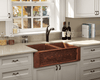 Polaris Double Offset Bowl Cooper Apron Farmhouse Sink P119 - Farmhouse Kitchen and Bath