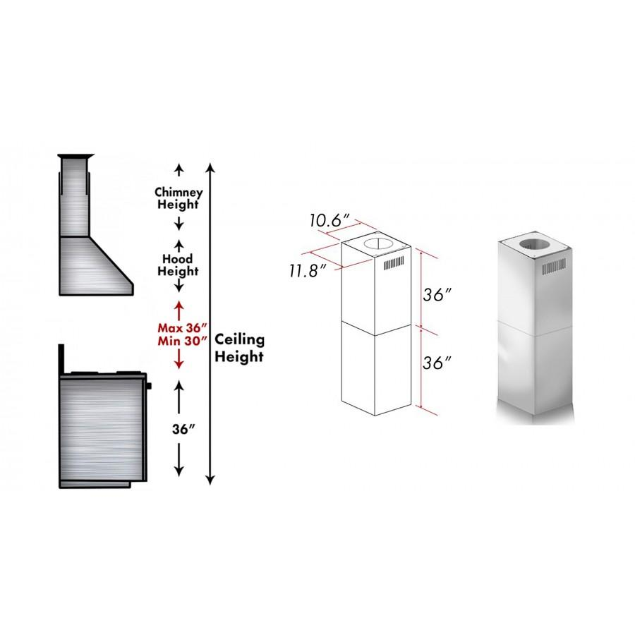 ZLINE 2 Piece Chimney Extension for 10'-12' Ceiling, 2PCEXT-597i - Farmhouse Kitchen and Bath