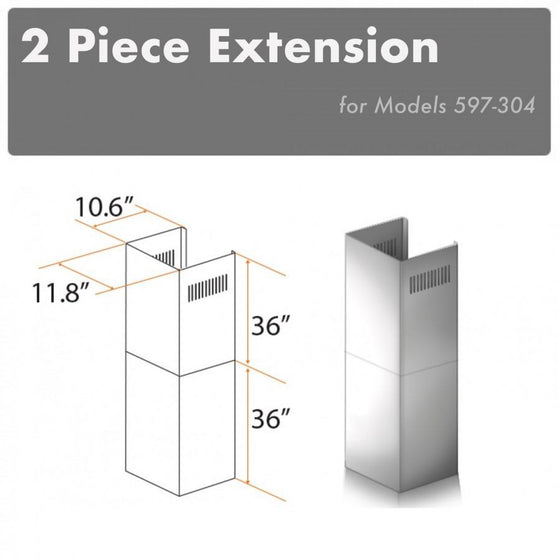 ZLINE 2 Piece Outdoor Chimney Extension, 2PCEXT-597-304 - Farmhouse Kitchen and Bath