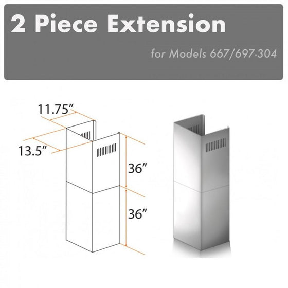 ZLINE 2 Piece Chimney Extension for 12' Ceiling, 2PCEXT-667/697-304 - Farmhouse Kitchen and Bath