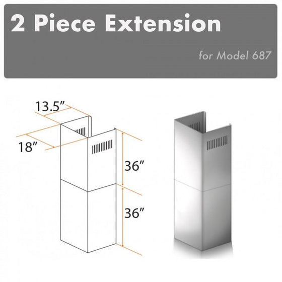 ZLINE 2 Piece Chimney Extension for 12' Ceiling, 2PCEXT-687 - Farmhouse Kitchen and Bath
