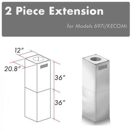 ZLINE Chimney Extension for 10'-12' Ceiling, 2PCEXT-697i/KECOMi - Farmhouse Kitchen and Bath