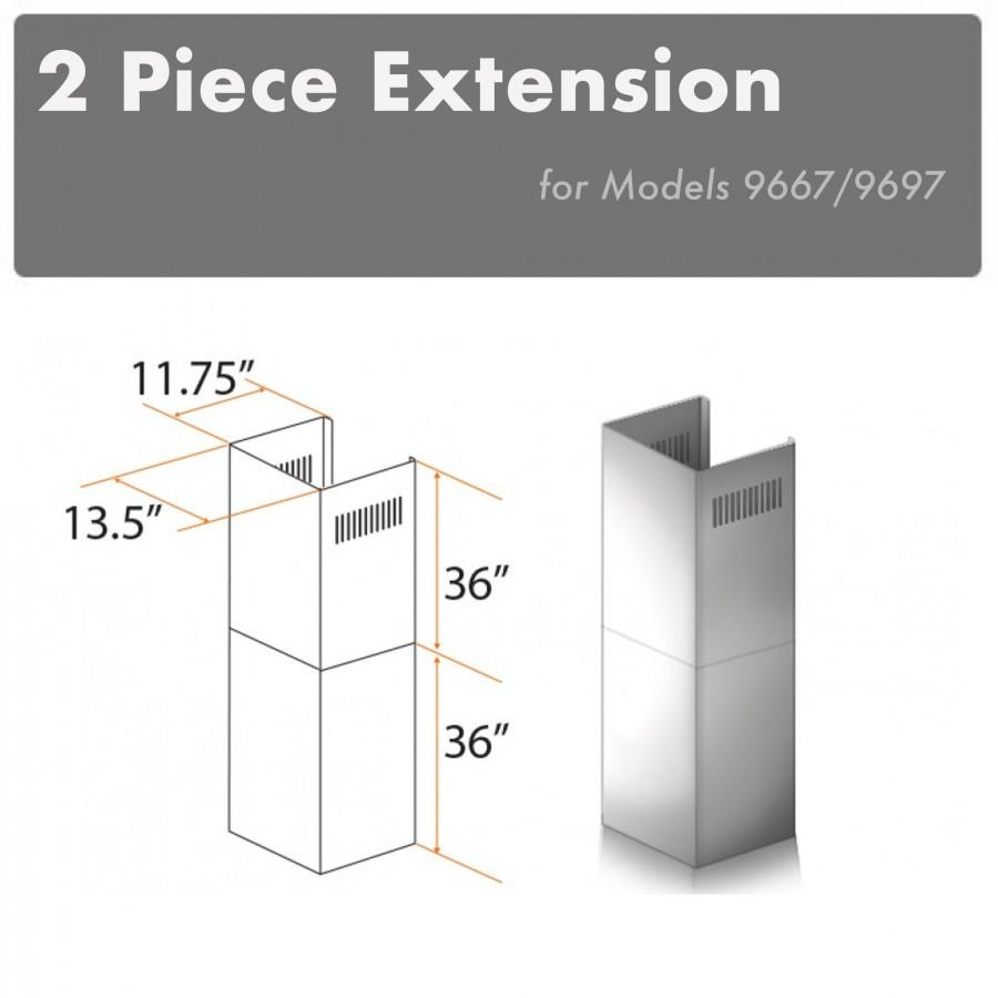 ZLINE 2 Piece Chimney Extension for 12' Ceiling, 2PCEXT-9667/9697 - Farmhouse Kitchen and Bath