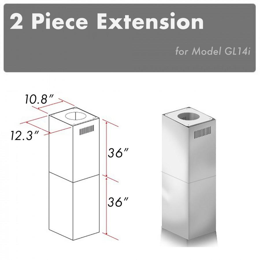 ZLINE 2 Piece Chimney Extension for 10'-12' Ceiling, 2PCEXT-GL14i - Farmhouse Kitchen and Bath