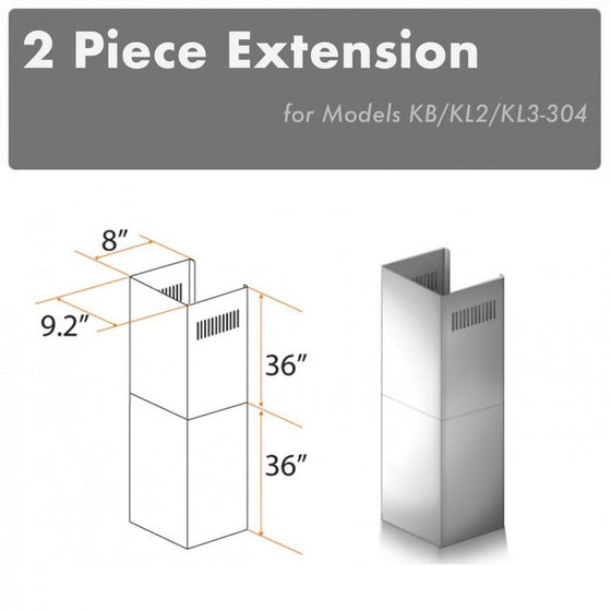 ZLINE 2 Piece Chimney Extensions for 12ft Ceiling, 2PCEXT-KB/KL2/KL3-304 - Farmhouse Kitchen and Bath
