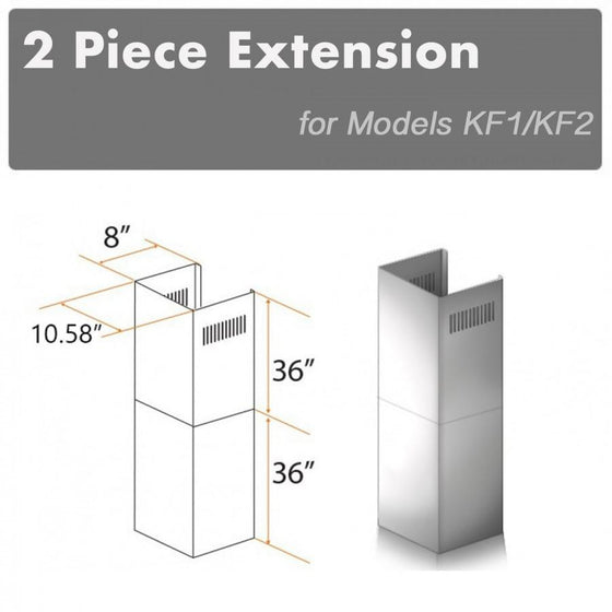 ZLINE 2 Piece Chimney Extension for 12' Ceiling, 2PCEXT-KF1 - Farmhouse Kitchen and Bath
