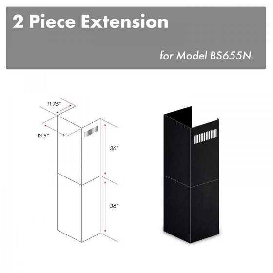 "ZLINE 2-36"" Chimney Extensions for 10 ft. to 12 ft. Ceilings, 2PCEXT-BS655N - Farmhouse Kitchen and Bath"