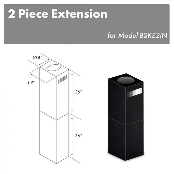"ZLINE 2-36"" Chimney Extensions for 10 ft. to 12 ft. Ceilings, 2PCEXT-BSKE2iN - Farmhouse Kitchen and Bath"