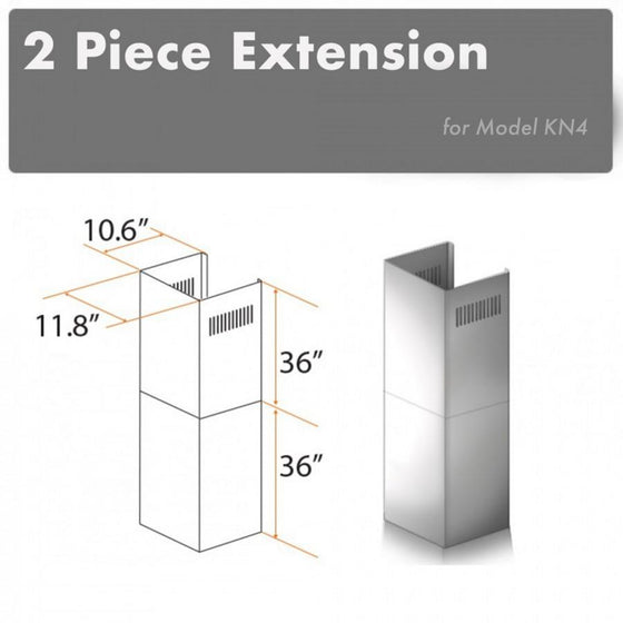 ZLINE 2 Piece Chimney Extension for 12' Ceiling, 2PCEXT-KN4 - Farmhouse Kitchen and Bath