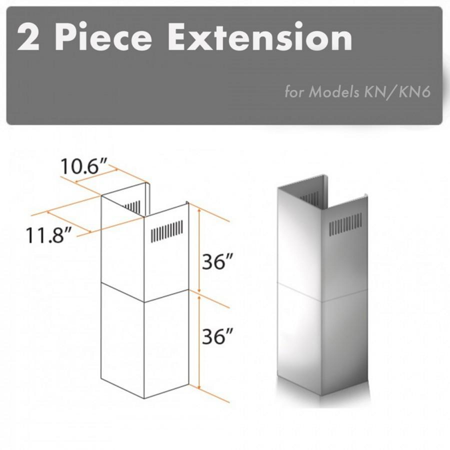 ZLINE 2 Piece Chimney Extension for 12' Ceiling, 2PCEXT-KN - Farmhouse Kitchen and Bath