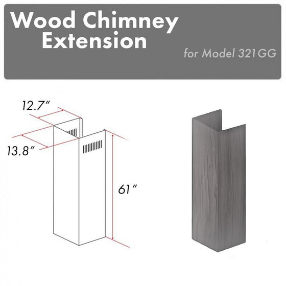 "ZLINE 61"" Wooden Chimney Extension for Ceilings up to 12.5 ft, 321GG-E - Farmhouse Kitchen and Bath"