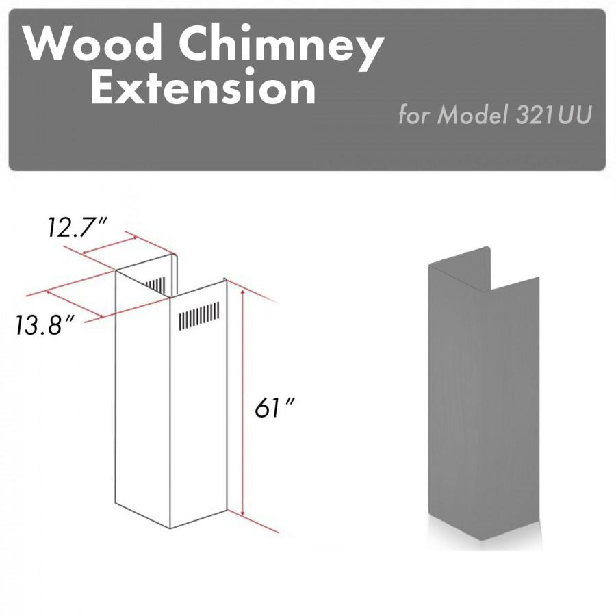 "ZLINE 61"" Wooden Chimney Extension for Ceilings up to 12.5 ft, 321UU-E - Farmhouse Kitchen and Bath"