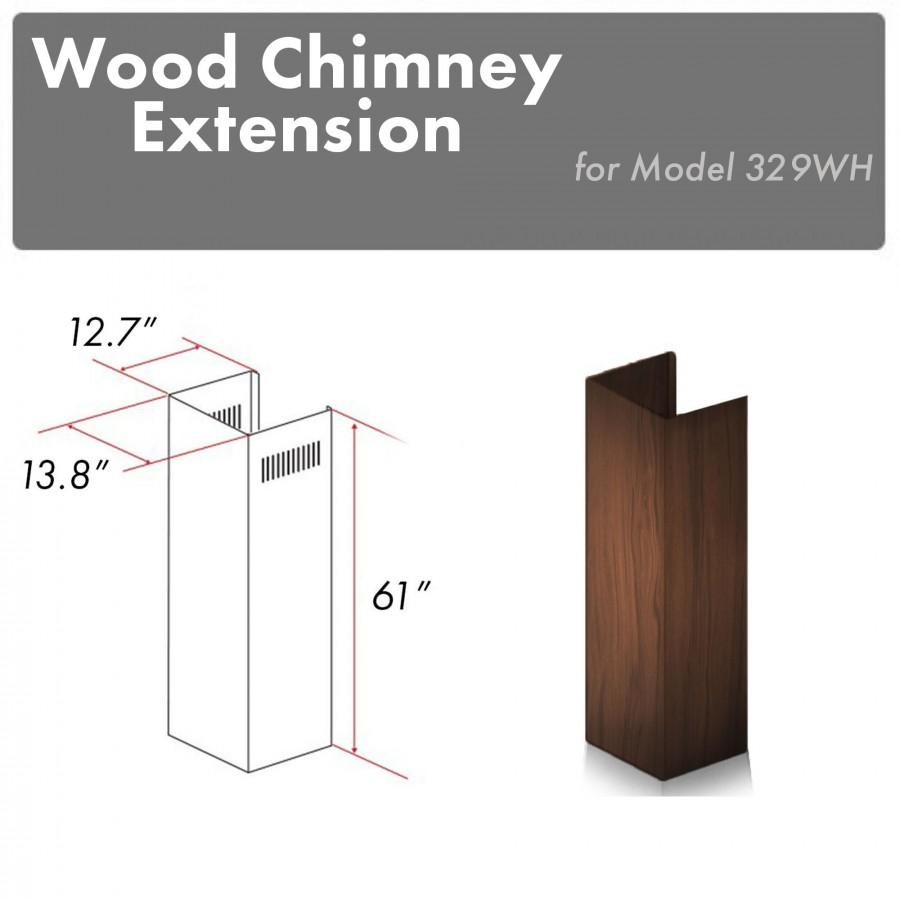 "ZLINE 61"" Wooden Chimney Extension for Ceilings up to 12.5 ft, 329WH-E - Farmhouse Kitchen and Bath"