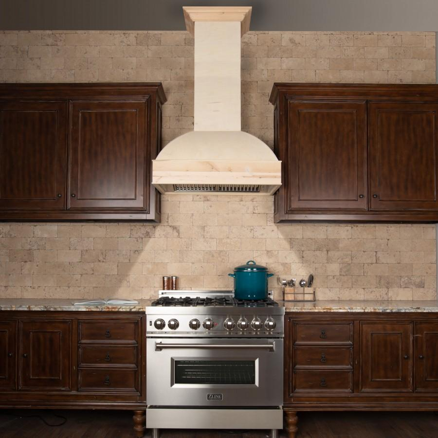 "ZLINE 30"" Unfinished Wooden Wall Mount Range Hood, 369UF-30 - Farmhouse Kitchen and Bath"