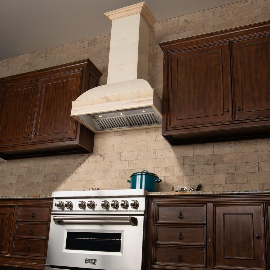 "ZLINE 36"" Unfinished Wooden Wall Mount Range Hood, 369UF-36 - Farmhouse Kitchen and Bath"