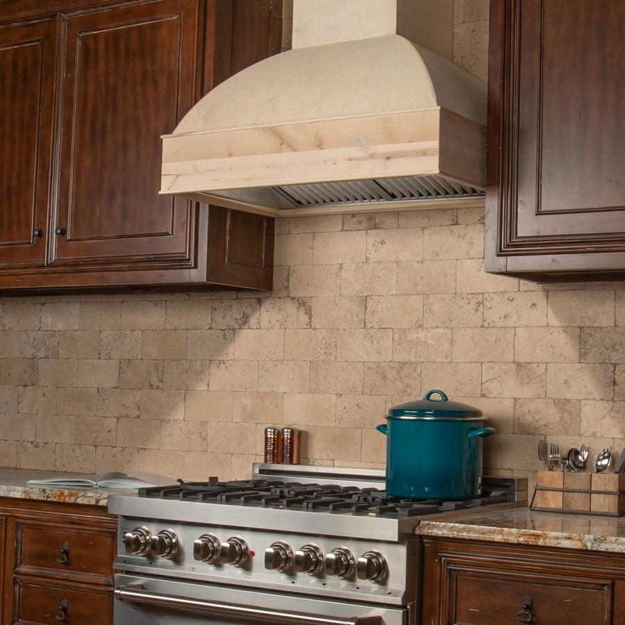 "ZLINE 48"" 1200 CFM Unfinished Wooden Wall Mount Range Hood, 369UF-48 - Farmhouse Kitchen and Bath"