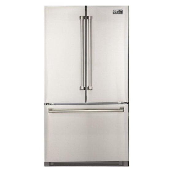 "KUCHT 26.1 Cu Ft 36"" French Door Refrigerator with Interior Ice Maker, K748FDS - Farmhouse Kitchen and Bath"