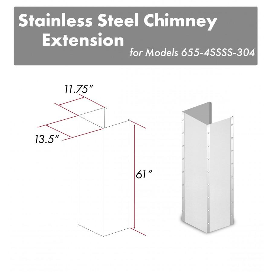 "ZLINE 61"" Extended Chimney and Crown, 655-4SSSS-30-304-E - Farmhouse Kitchen and Bath"