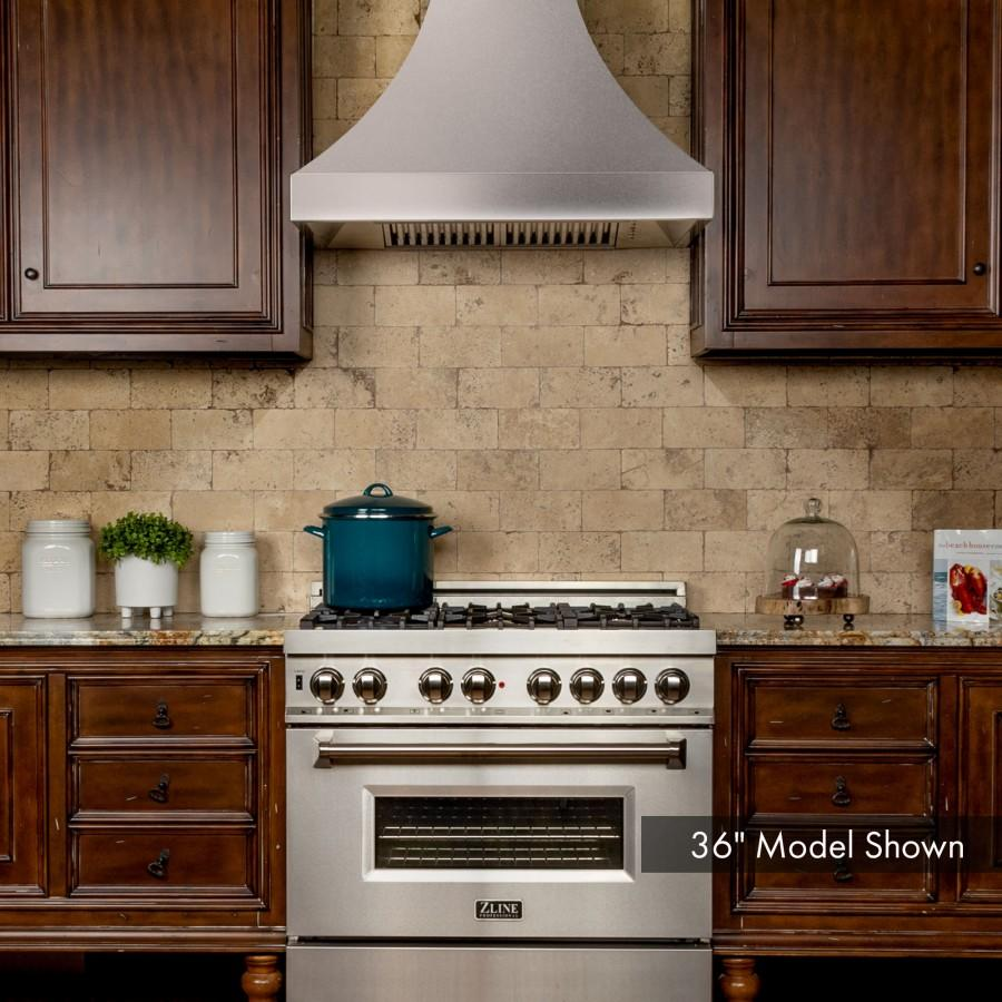 "ZLINE 48"" Designer Snow Stainless Finish Wall Range Hood, 8632S-48 - Farmhouse Kitchen and Bath"