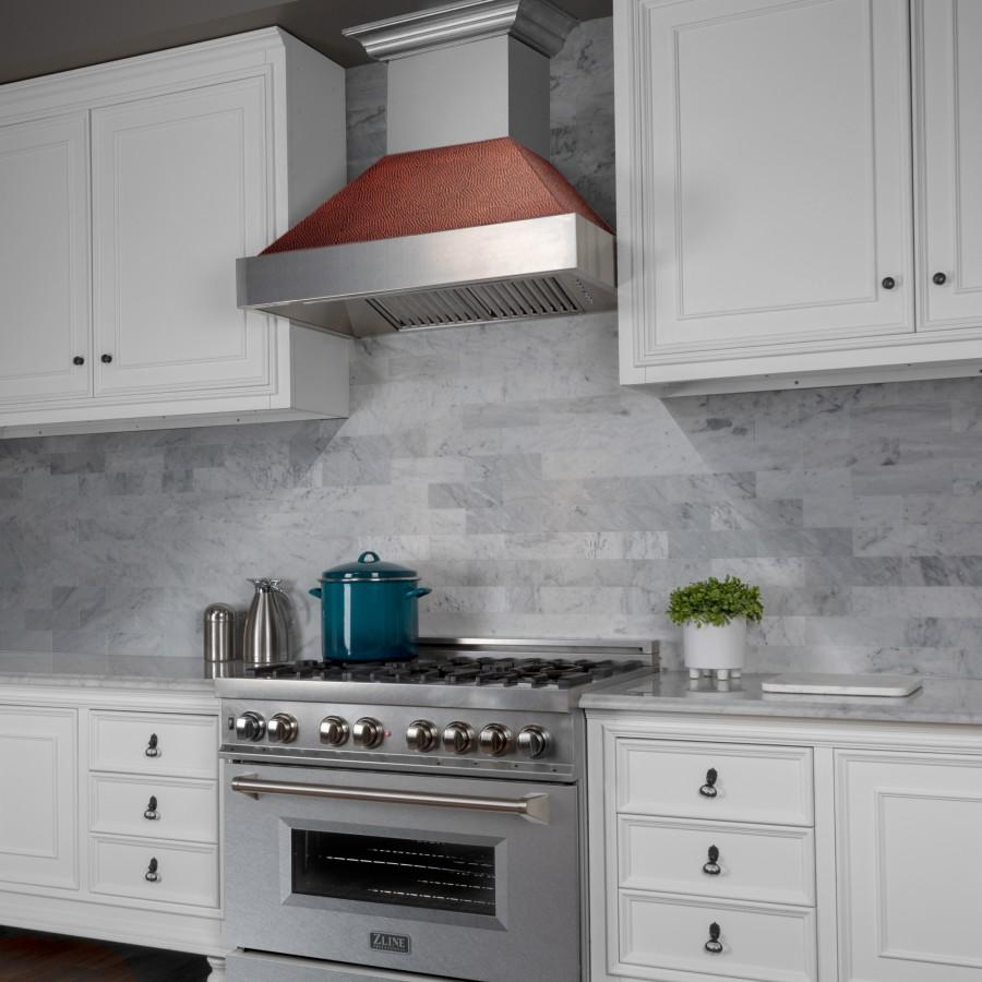 "ZLINE 30"" Colored Range Hood Shell, Hand-Hammered Copper 8654-SH-HH-30 - Farmhouse Kitchen and Bath"