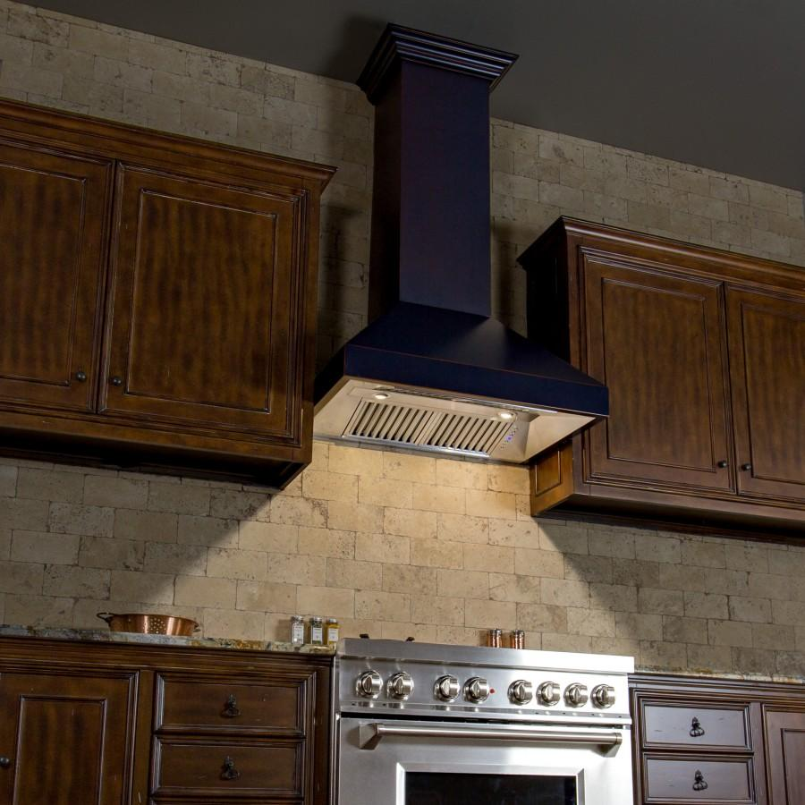 "ZLINE 30"" Oil-Rubbed Bronze Wall Range Hood 8667B-30, 24"" depth - Farmhouse Kitchen and Bath"