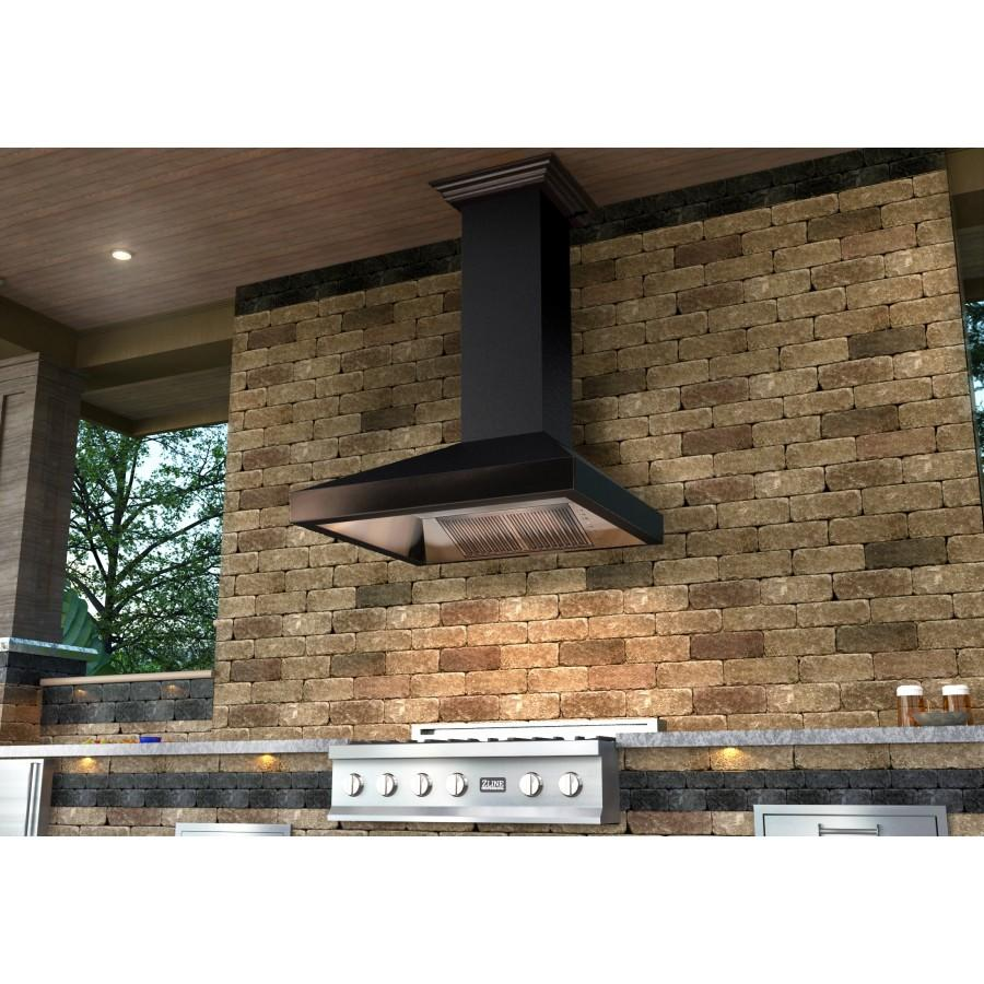 "ZLINE 36"" Oil-Rubbed Bronze Wall Range Hood, 8667B-36 - Farmhouse Kitchen and Bath"