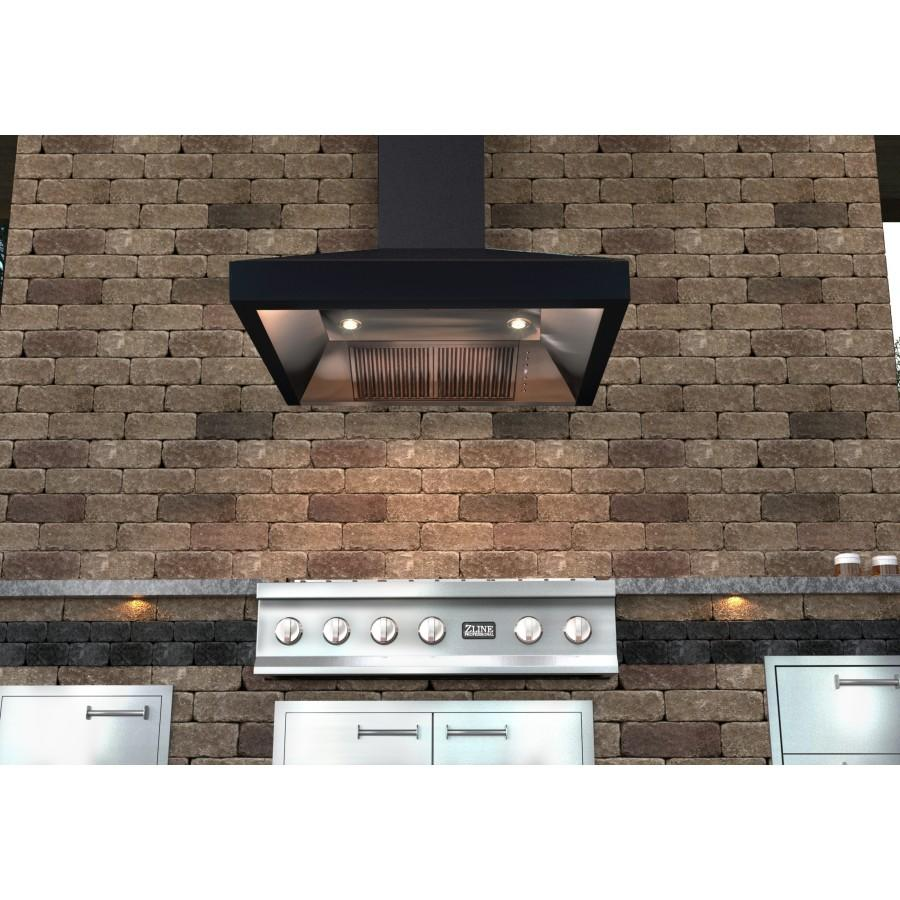 "ZLINE 48"" Oil-Rubbed Bronze Wall Range Hood, 8667B-48 - Farmhouse Kitchen and Bath"