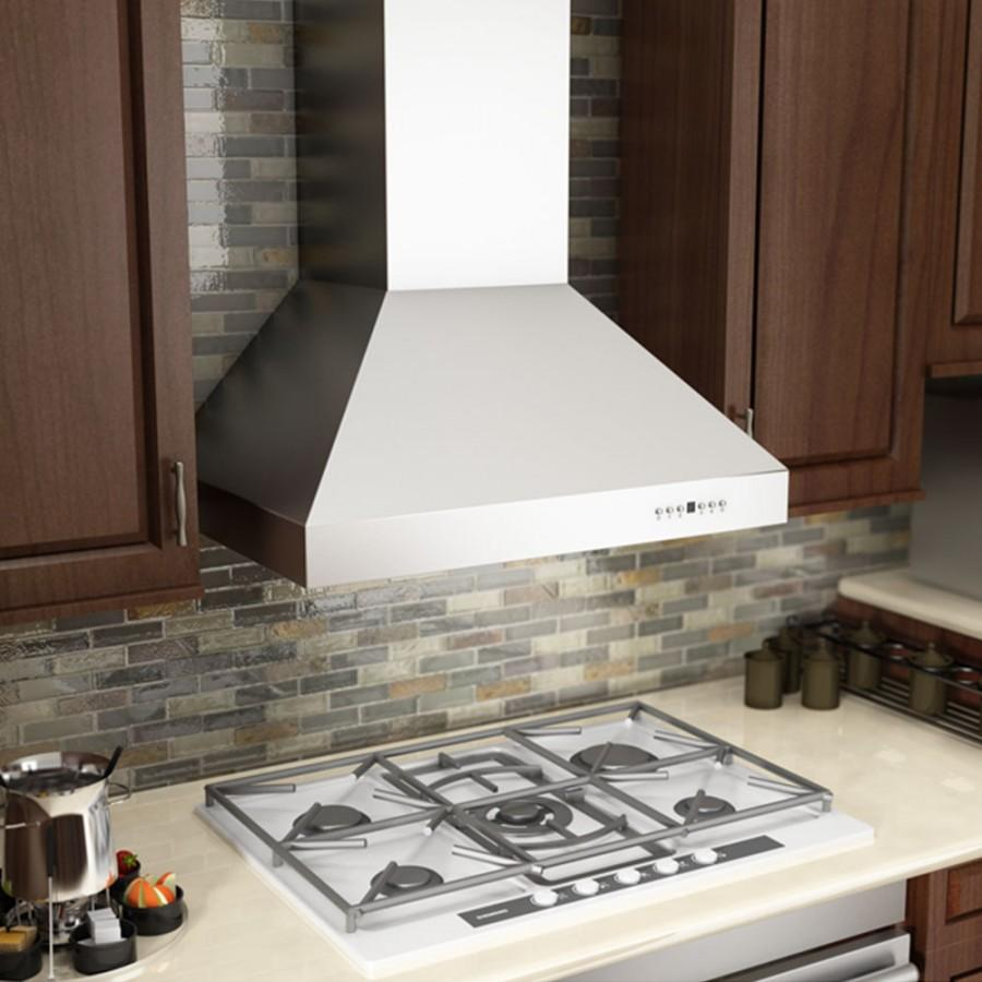 "ZLINE 36"" Stainless Steel Wall Range Hood with Crown Molding,667CRN-36 - Farmhouse Kitchen and Bath"