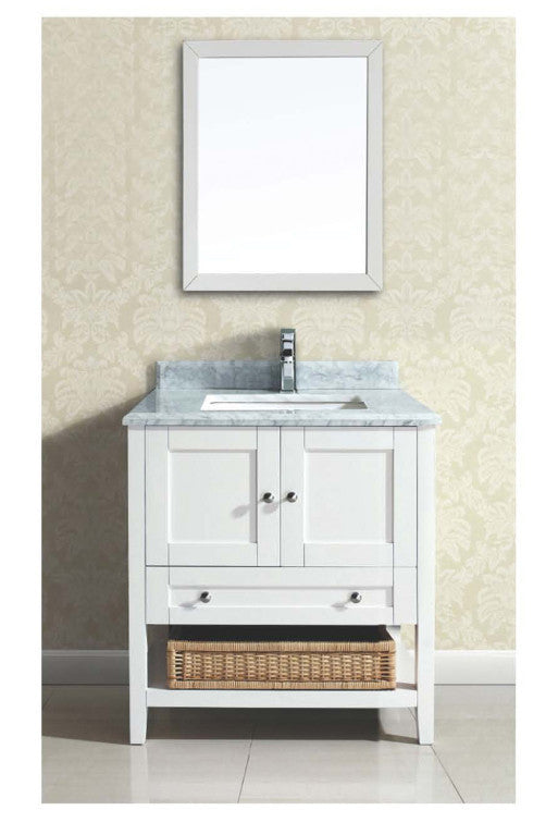 "Dawn 30"" Bohemian Style Vanity Single Sink & White Marble AACCS-3001 - Farmhouse Kitchen and Bath"