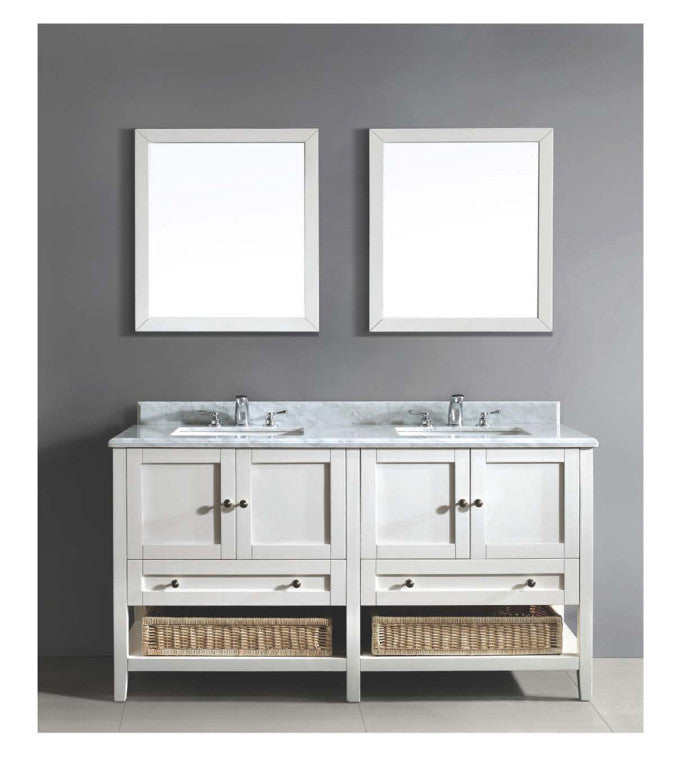 "Dawn 60"" Bohemian Vanity Double Sink & White Marble Top AACCS-6001 - Farmhouse Kitchen and Bath"