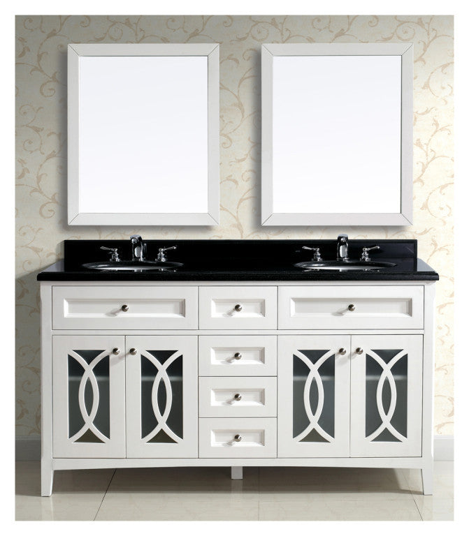 "Dawn 60"" Modern Vanity with Double Sinks & Black Marble Top AACS-6001 - Farmhouse Kitchen and Bath"