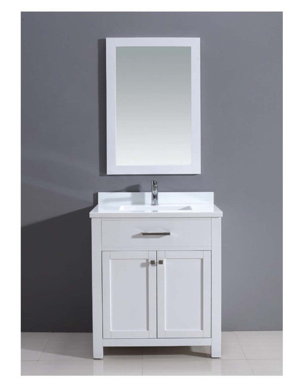 "Dawn 30"" Milan Style Vanity Single Sink & White Marble Top AAMS3001 - Farmhouse Kitchen and Bath"