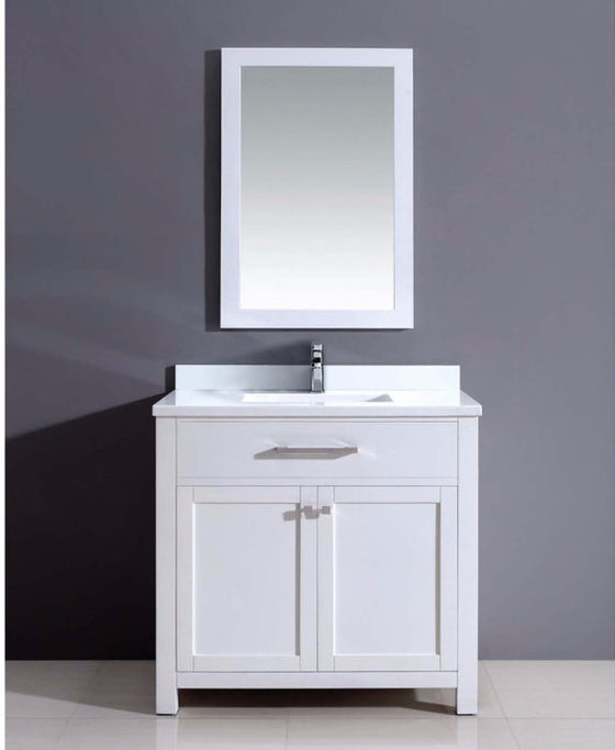 "Dawn 36""Milan Vanity Single Sink & White Marble Top & Mirror AAMS3601 - Farmhouse Kitchen and Bath"
