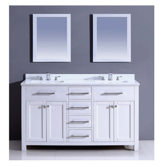 "Dawn 60"" Milan Vanity Double Sink & White Marble Top & Mirrors AAMS6001 - Farmhouse Kitchen and Bath"