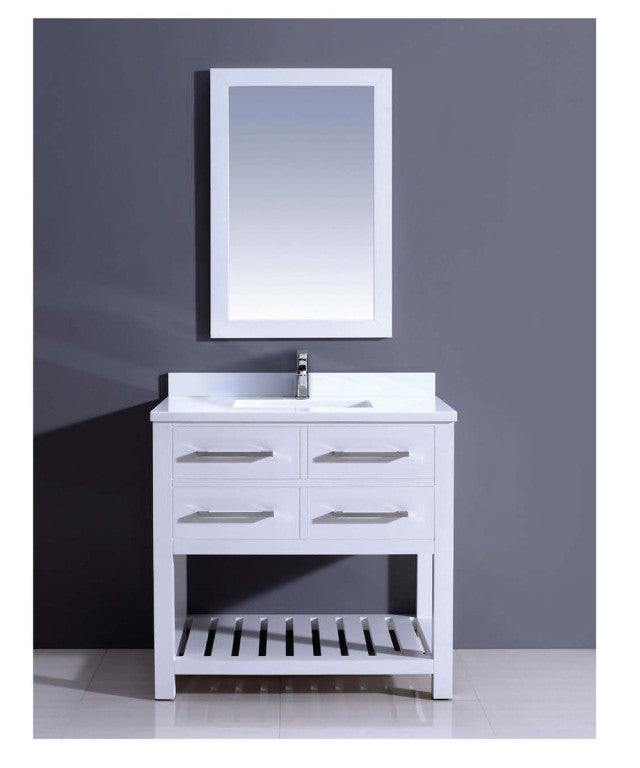 "Dawn 36"" Boehemian Vanity with Single Sink and White Quartz Top AAPS3601 - Farmhouse Kitchen and Bath"
